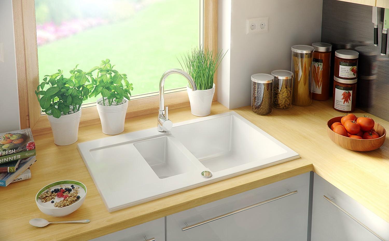 /Évier granit Primagran Blanc 1.5 bac avec siphon automatique /évier de cuisine