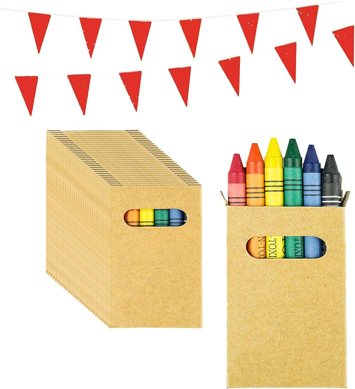 Piñatas de Cumpleaños Infantiles Partituki. 50 Sets de 6 Ceras de Colores y una Guirnalda de 10 m. Ideal para Detalles Cumpleaños Infantiles y Regalos Cumpleaños Niños Colegio