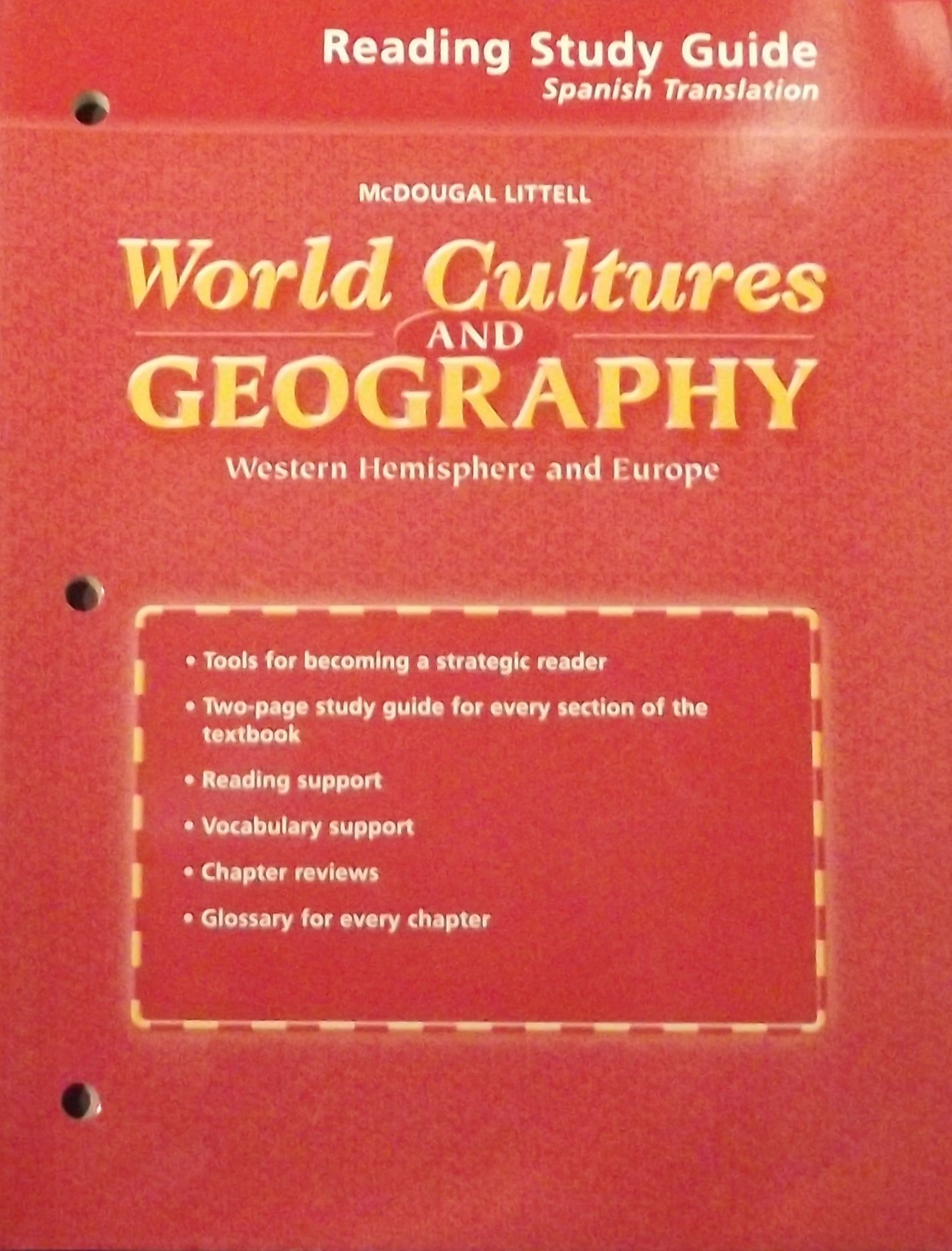 Read Online McDougal Littell World Cultures & Geography: Reading Study Guide (Spanish Translations) Grades 6-8 Western Hemisphere and Europe PDF