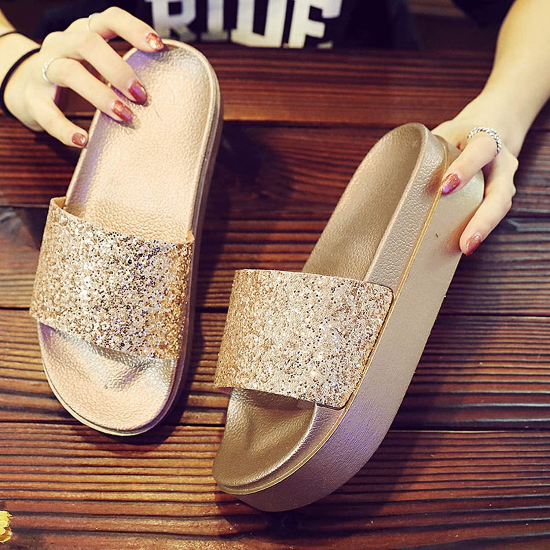 Go V Women Home Slippers Summer Peep Toe Flip Flops Bling Glitter Thick Botoom Fashion Luxury Sandals Beach Shoe