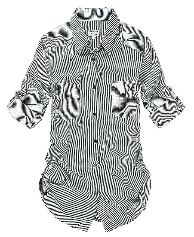B003 Stripe Match Women's Long Sleeve Flannel Plaid Shirt
