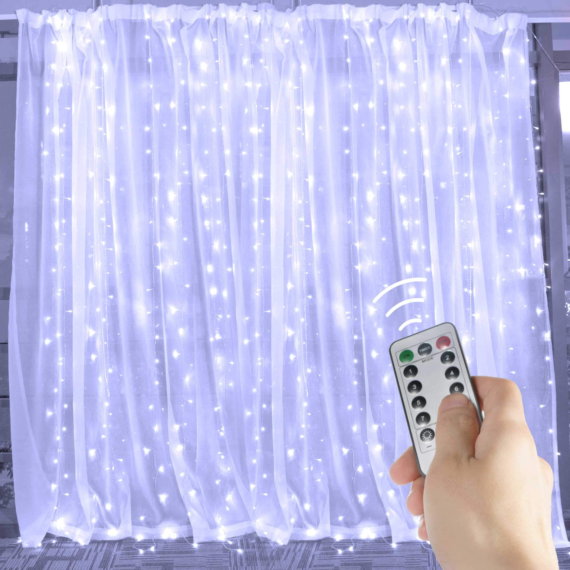 Brightown String Lights Window Curtain,300 LED Icicle Fairy Twinkle Starry Lights with Remote and Timer-UL Listed for Indoor and Outdoor, Wedding, Home Bedroom Wall Decoration, Party (Pure White)