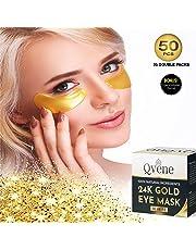 QVENE 25 Pares Mascarilla Hidratante Contorno Ojos de Colágeno con Partículas de Oro 24K para eliminar Arrugas, Ojeras, Bolsas e Hinchazón debajo de los Ojos - Contiene 5 mascarillas de carbón activado