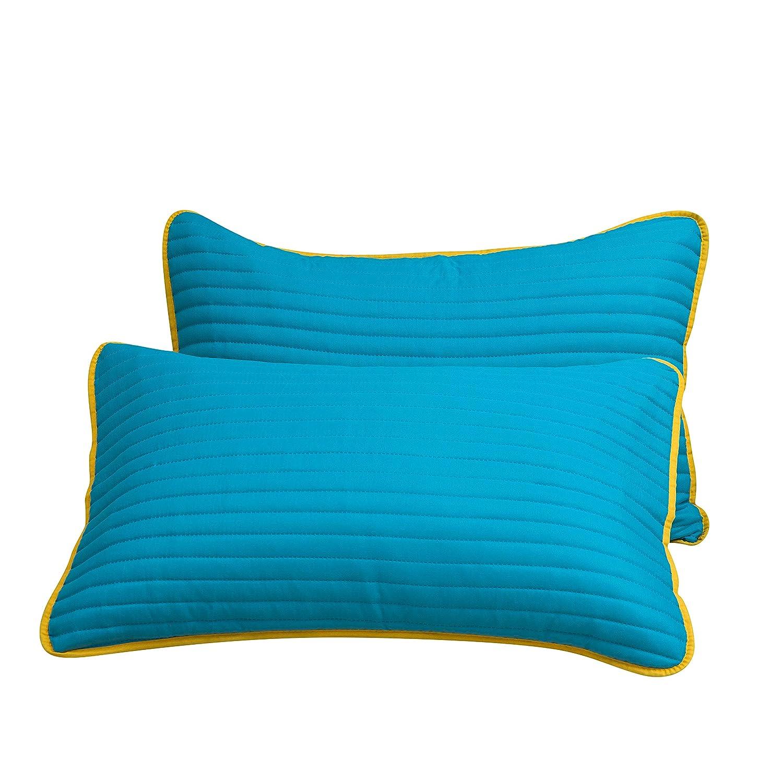 ギフ_包装 Mohap 枕カバー 2個パック 商品 ファスナーなし ピンソニッククラフツマンシップ スタイリッシュ 通気性 B07HGX11PZ クイーン Tealyellow スーパーソフト
