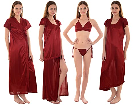 0d01aaffa0 Senslife Women s Satin Purple night wear 6pc Set of Nighty Wrap Gown Top  Wrap Skirt Bra