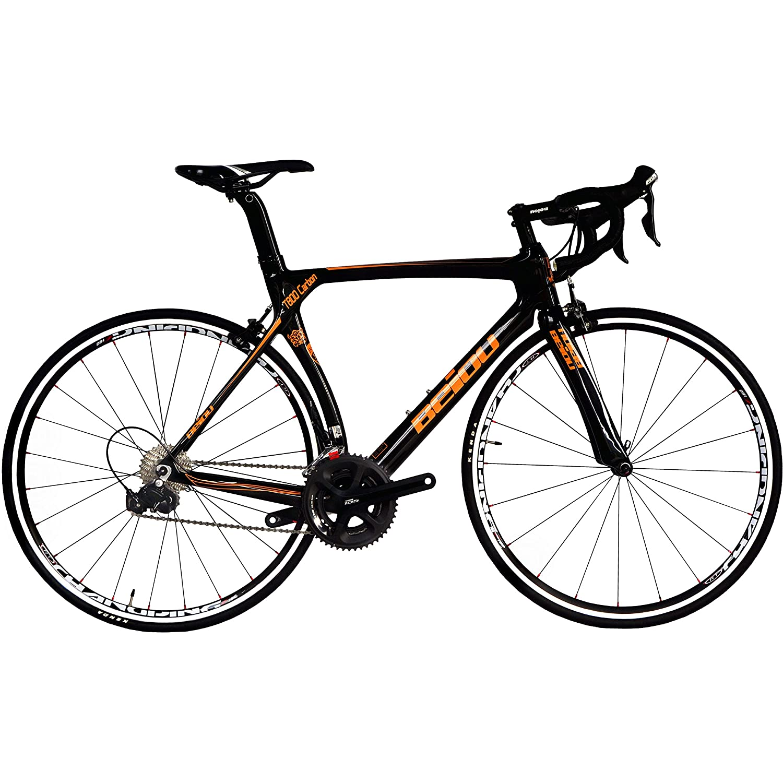 BEIOU 700C ロードシマノ105 自転車 5800 22Sレーシング 自転車 T800-M40カーボンファイバーエアロフレーム 超軽量 18.3lbs CB013A-2 [並行輸入品] B01N0VVTW4 560mm|光沢のあるブラック&オレンジ 光沢のあるブラック&オレンジ 560mm