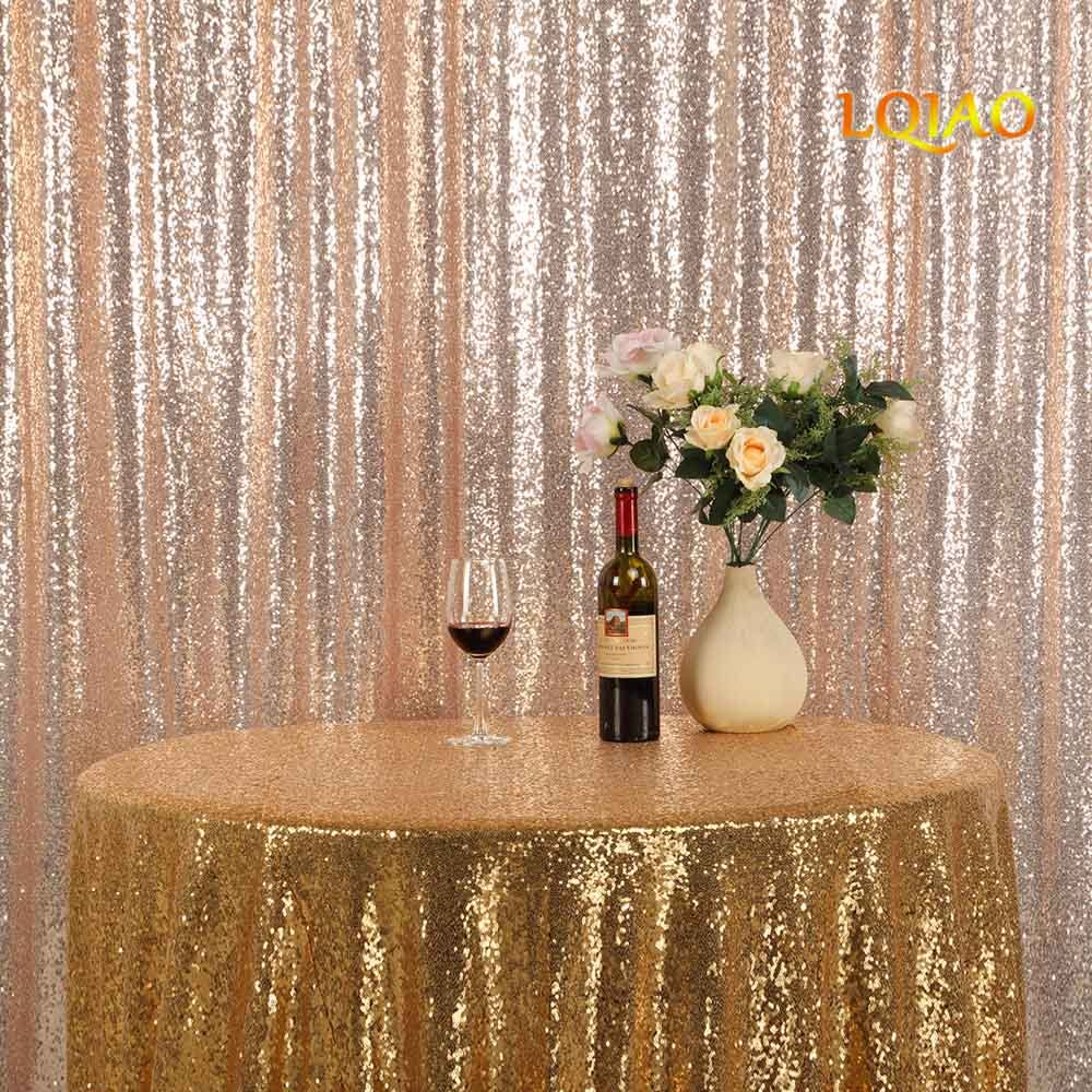 LQIAO Embroidered Sequin Fabric Backdrop Curtain 8FTx10FT Champagne Gold Modern Window Drapes Sequin Curtain for living room/photo booth backdrop