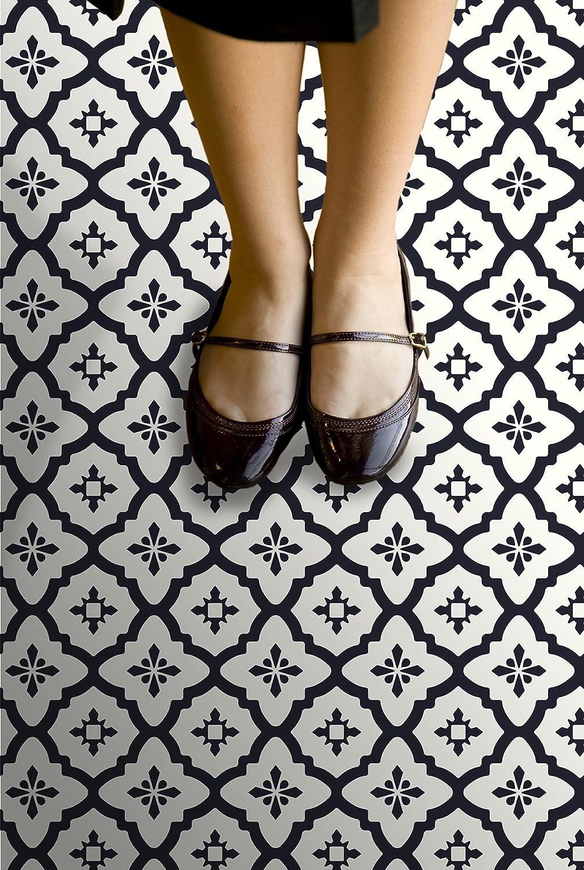 Set of 10 Pieces Blacks WallPops FP2480 Comet Peel /& Stick Floor Tiles