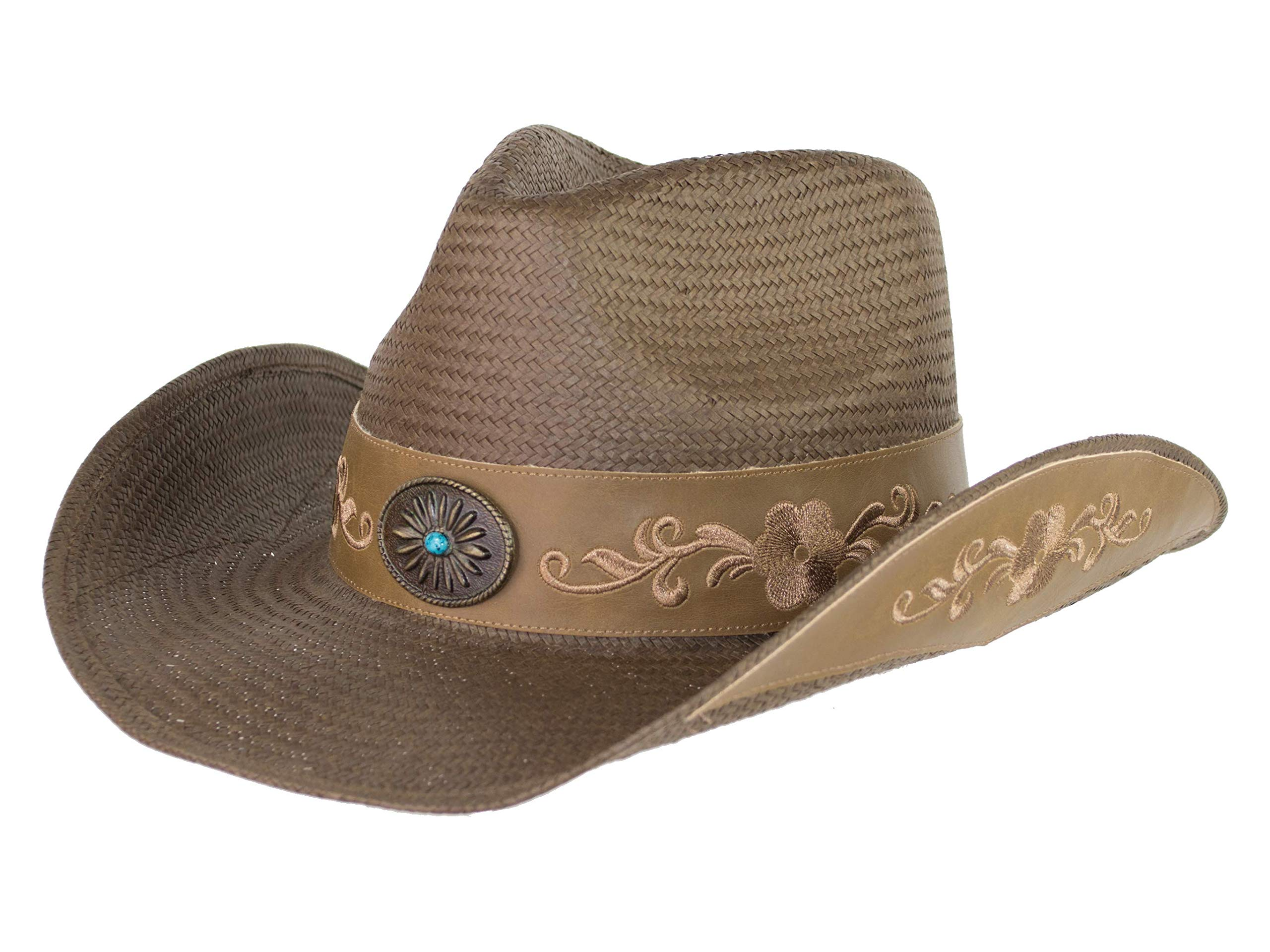 Brown Toyo Straw Cowboy Hat, Shapeable Flower Embroidered Cowgirl Hat w/Turquoise Concho, Medium