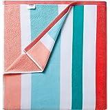 CABANANA Fluffy Oversized Beach Towel - Plush Cotton 36 x 70 Inch Rainbow Striped Pool Towel, Large Summer Swimming Cabana To