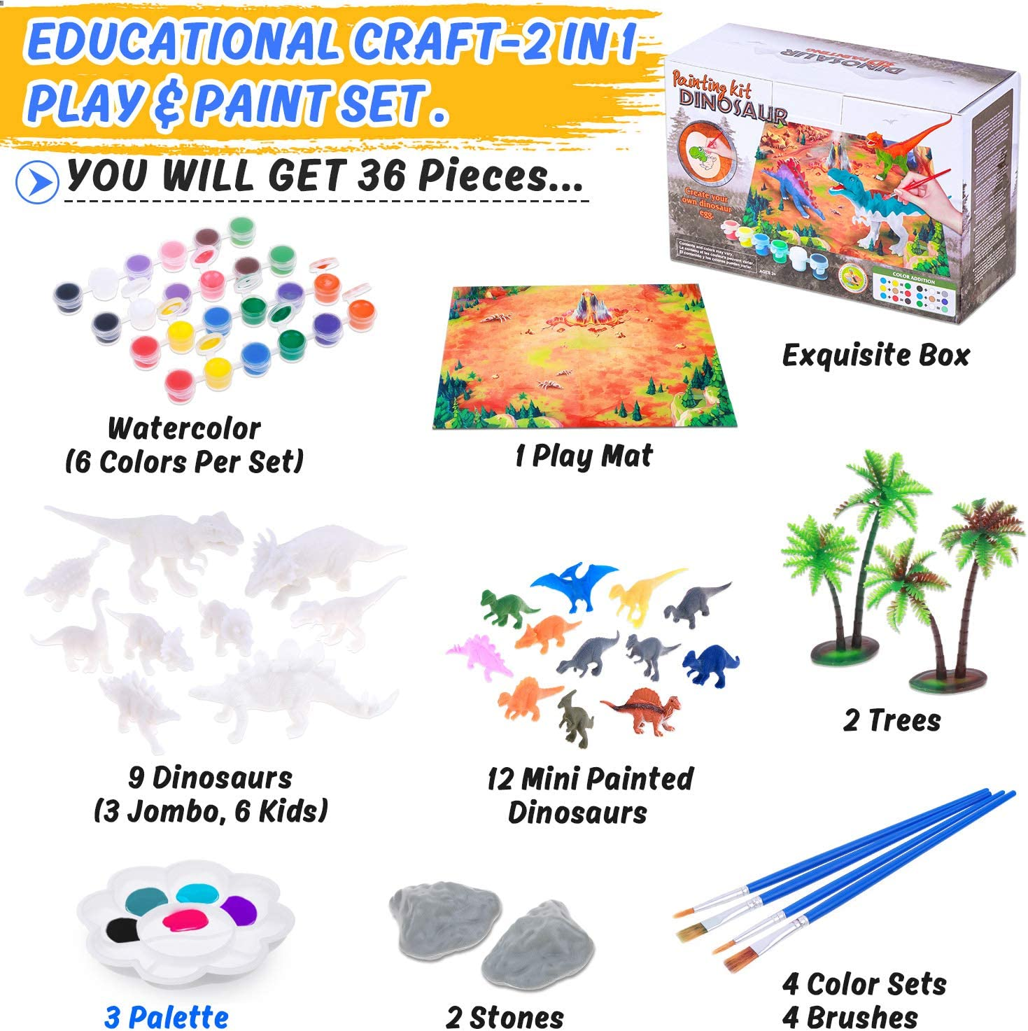 Kids Arts and Crafts Supplies Create Your Own Dinosaurs Figures World Painting Kit Dinosaurs Craft Party Favors for Boys Girls Age 4 5 6 7 8 9 Years and Up
