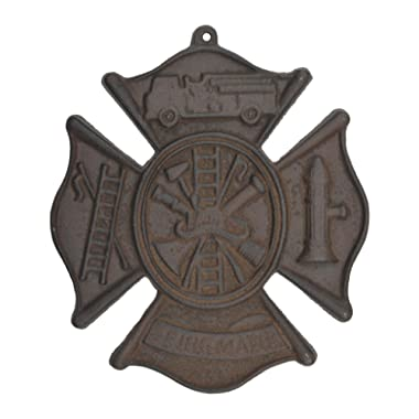 Import Wholesales Firefighting Firemans Cross Hanging Wall Plaque Rust Brown Cast Iron 7.75  W Maltese St. Florian