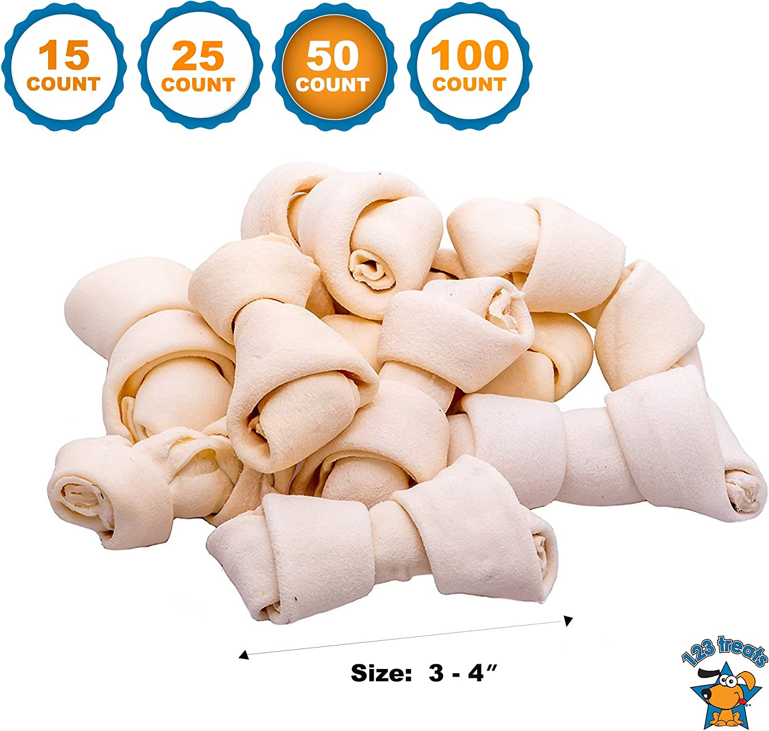 123 Treats | Rawhide Bones Chews 3-4"
