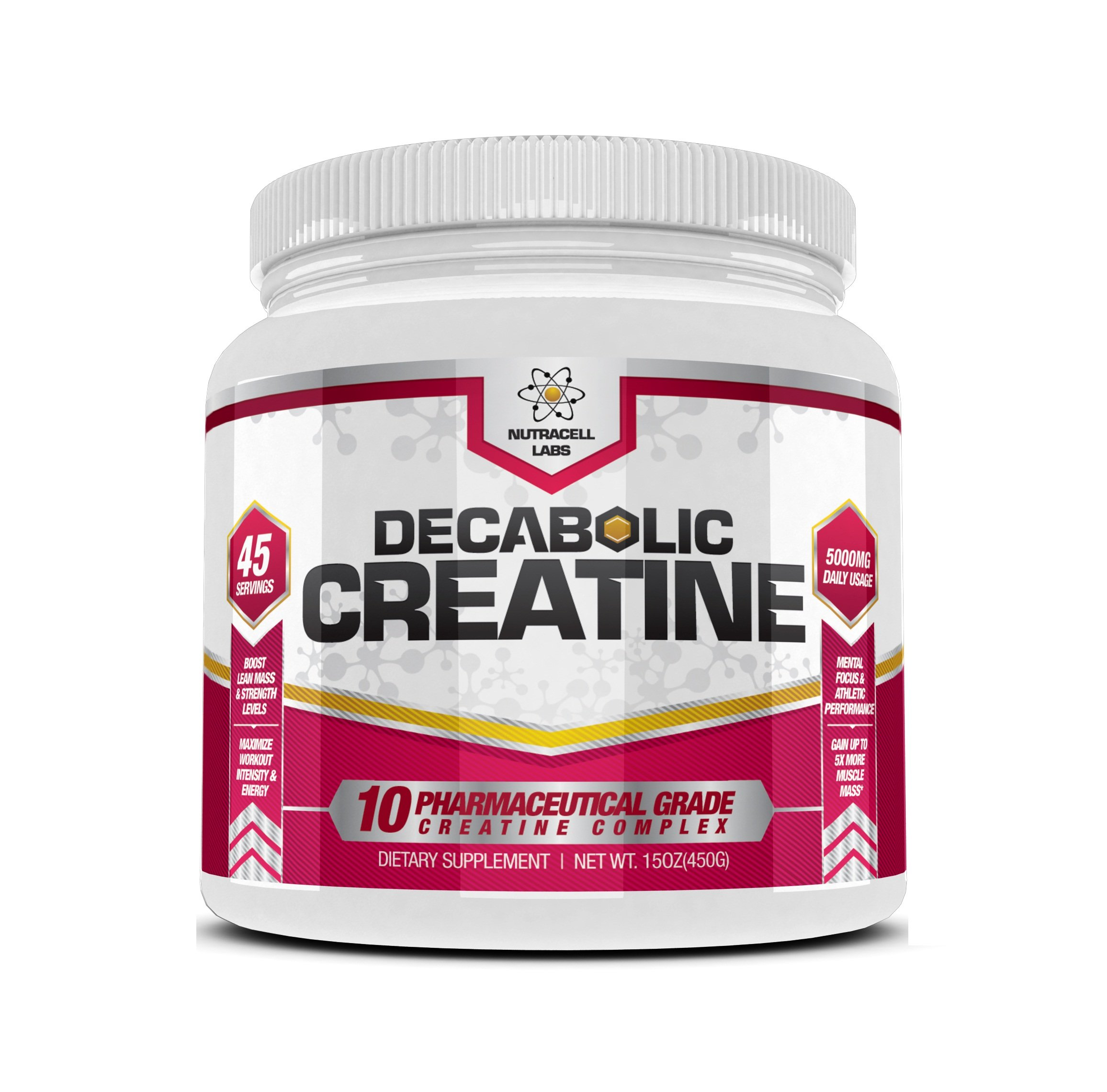 Decabolic Creatine : Powerful 10 Creatine BLEND Powder - Extreme Performance, Muscle Strength and Size Boost Supplement