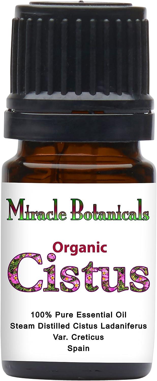 Miracle Botanicals Organic Cistus Essential Oil - 100% Pure Cistus Ladaniferus VAR. Creticus - Therapeutic Grade - 5ml