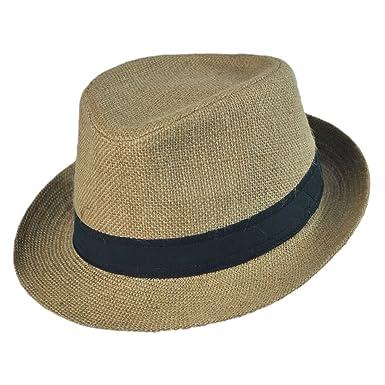 6d3a5a27 Jaxon Jute Fabric C-Crown Trilby Fedora Hat at Amazon Men's Clothing ...
