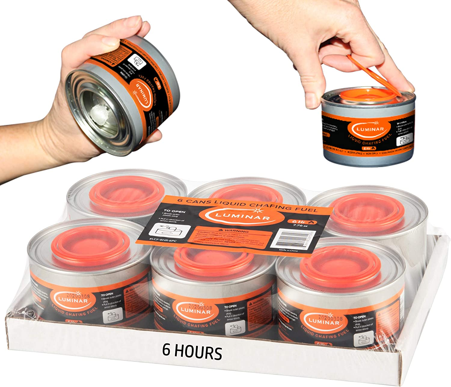 6 Hour Chafing Fuel Liquid Wick Cooking Cans Buffet Food Warmer Dish Burners - Easy Open - 6 Pack