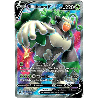 Rillaboom V 175/192 - Ultra Rare - Full Art - Pokemon Sword and Shield Rebel Clash: Toys & Games