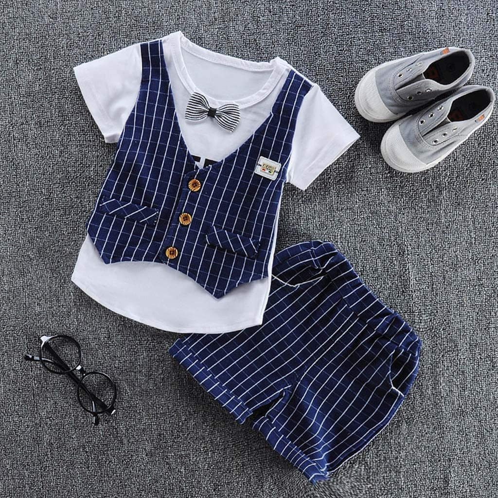 Suma-ma 0-3 Years Kids Boys Striped Gentleman Suit Bow T shirt Tops Plaid Shorts Set Outfits Clothes