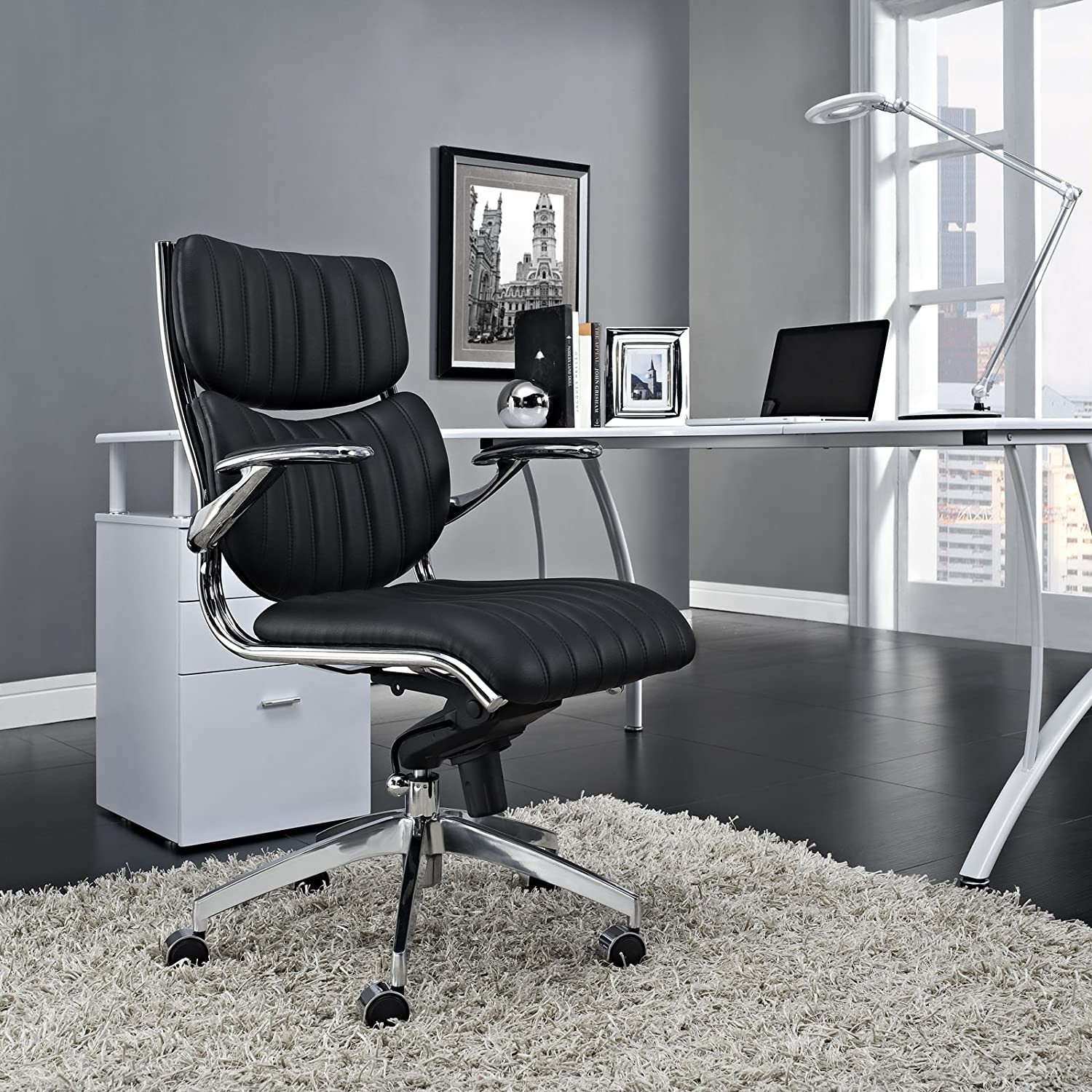 Modway Escape Ribbed Faux Leather Ergonomic Computer Desk Office Chair in Black