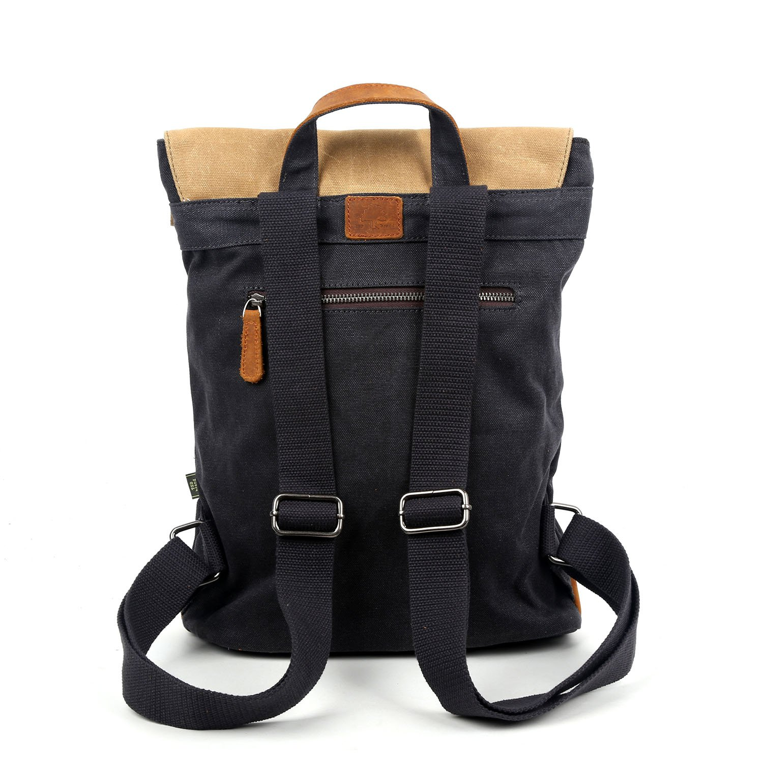 Travel Log Compass Backpack Genuine Canvas and Leather Bag Navy