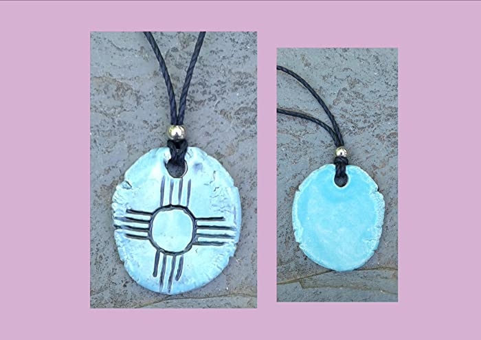Zia Sun Necklace Turquoise Ceramic Peublo Pendant Native American