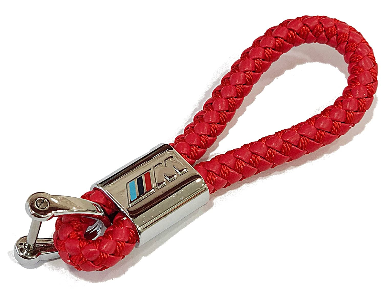 Portachiavi BMW ///M Motorsport fiocco in pelle rosso con rivetto metallico Logo ///M TGH
