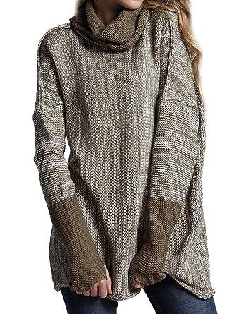 Dresswel Moda para Mujer Punto suéter Cuello Alto Mangas largas Empalme Color: Amazon.es: Ropa y accesorios