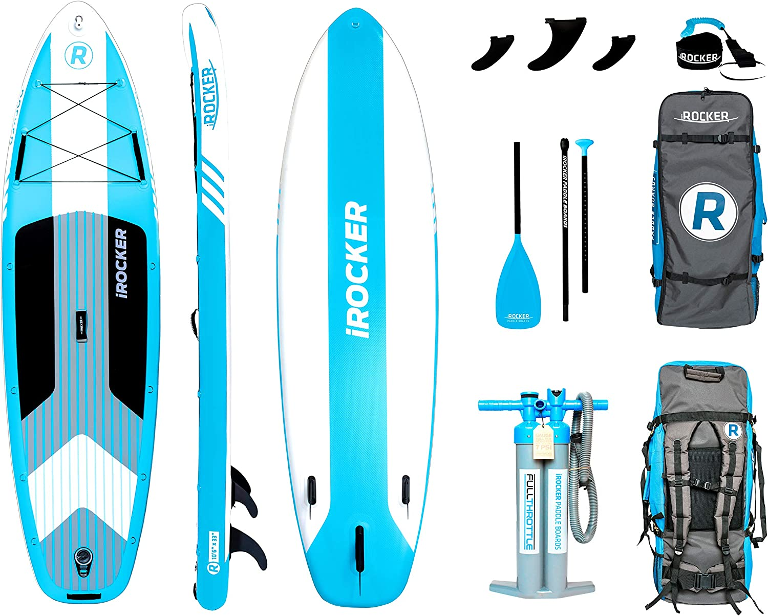 "iROCKER Cruiser Inflatable Stand Up Paddle Board 10'6"" Long 33"" Wide 6"" Thick SUP Package"