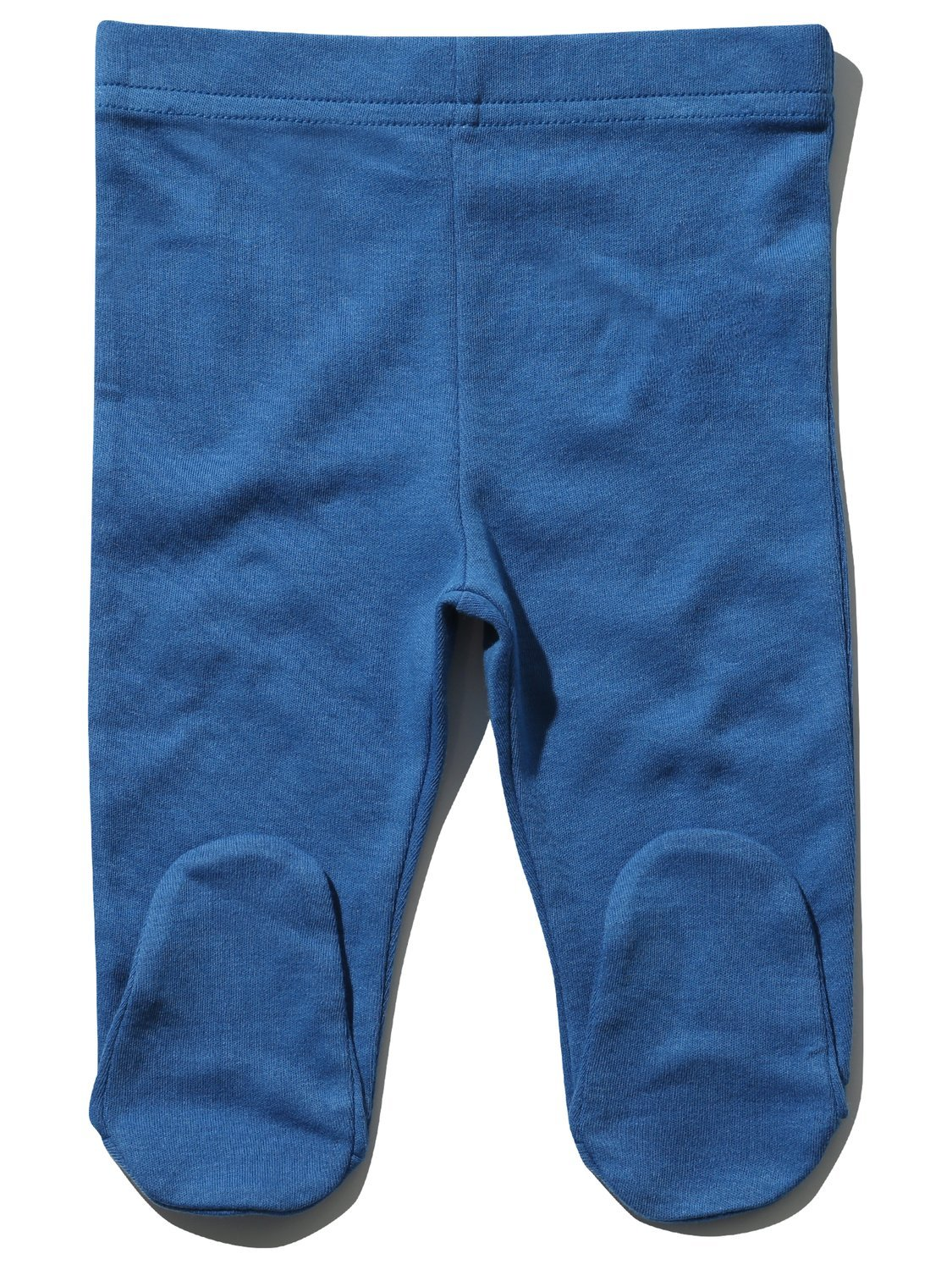M& Co Newborn Boy 100% Cotton Plain Blue Stretch Waist Enclosed Feet Joggers