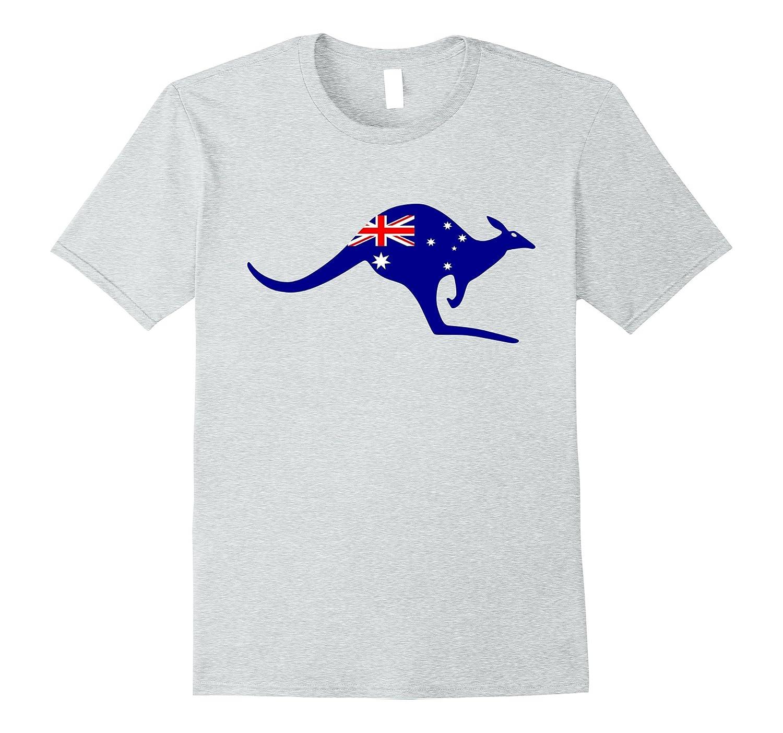Australian Flag Kangaroo Shirt Aussie Australia Vacation Tee-AZP