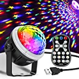 OMERIL Party Lights Disco Ball, USB Powered 11 RGBY Color Disco Lights Sound Activated Strobe Light with Remote Control…