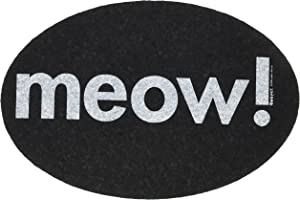 Ore' Pet Black Oval Meow Recycled Rubber Pet Placemat