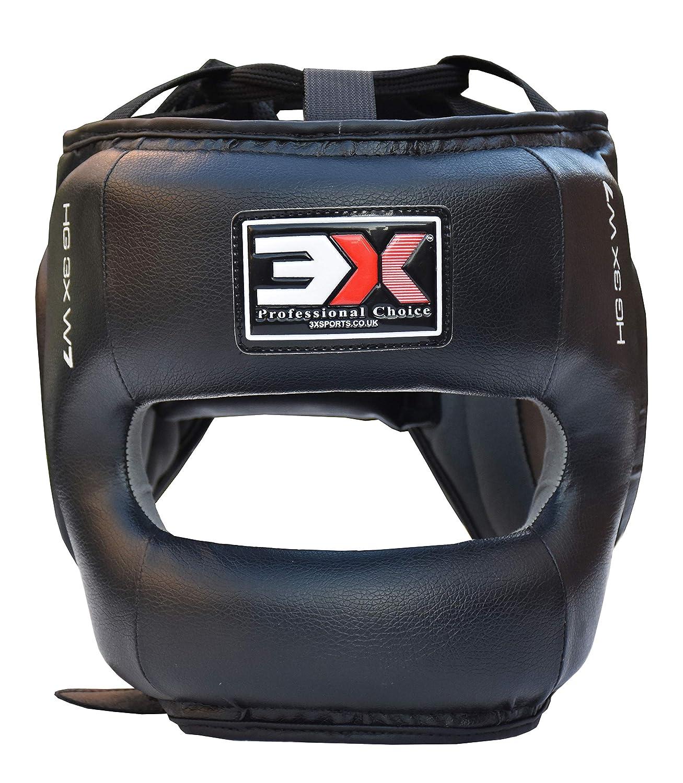 3X Professional Choice Boxing Headguard Open Face Liani Leather Headgear Krav Maga MMA Sparring Helmet Protector Fighting Head Guard