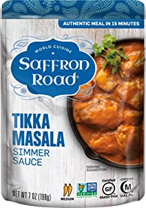 Saffron Road Simmer Sauce, Non-GMO, Gluten-Free, Halal, Tikka Masala, 7 Ounce (Pack of 8)
