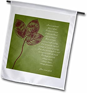 3dRose Fl_99339_1 Red Leaves Inspirational Love is Patient/Love is Kind Bible Verse Garden Flag, 12 by 18-Inch