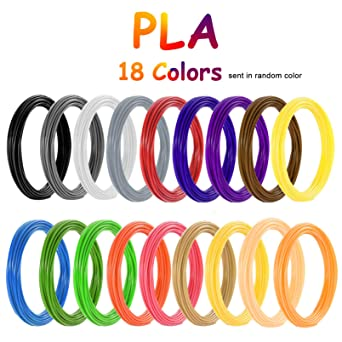 PLA Filamento de pluma 3D, Vibury 18 Colores 1.75 mm Total de 177 ...