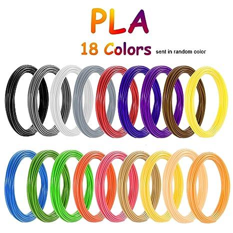 PLA Filamento de pluma 3D, Vibury 18 Colores 1.75 mm Total de 177 ...