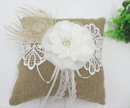 worldoor ivory flower with pearls peacock feather burlap lace wedding ring pillow bearer bridal shower