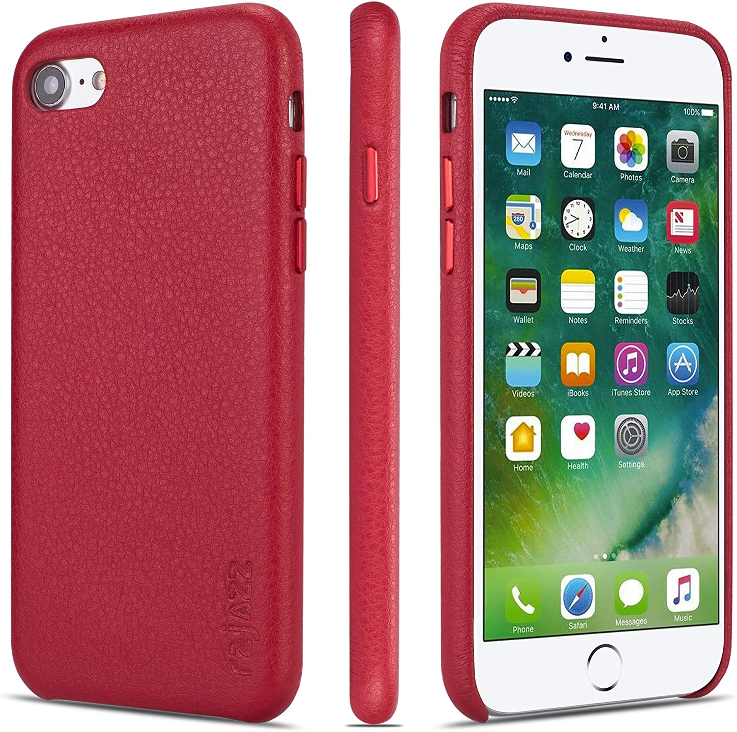 rejazz iPhone 7 Case iPhone 8 Case Anti-Scratch iPhone 7 Cover iPhone 8 Cover Genuine Leather Apple iPhone Cases for iPhone 7/8 (4.7 Inch)(Red)