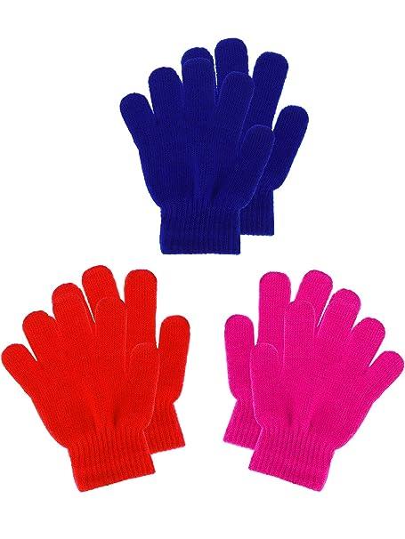 Amazon.com: Boao 3 pares de guantes de punto para niños con ...