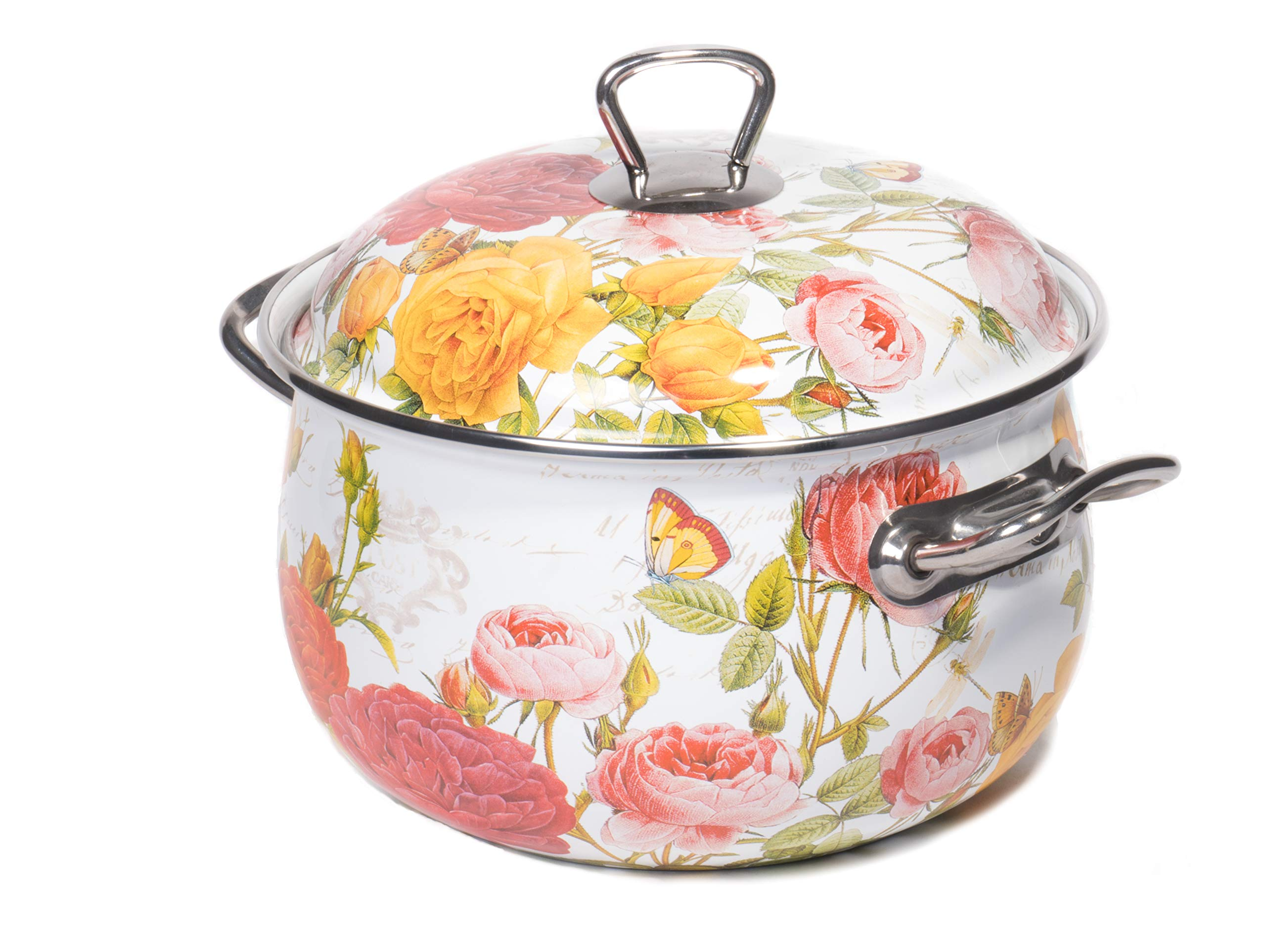Red Co. Enamel On Steel Round Covered Stockpot, Pasta Stock Stew Soup Casserole Dish Lid, Up to 6.5 Quarts - 24 cm (Roses)