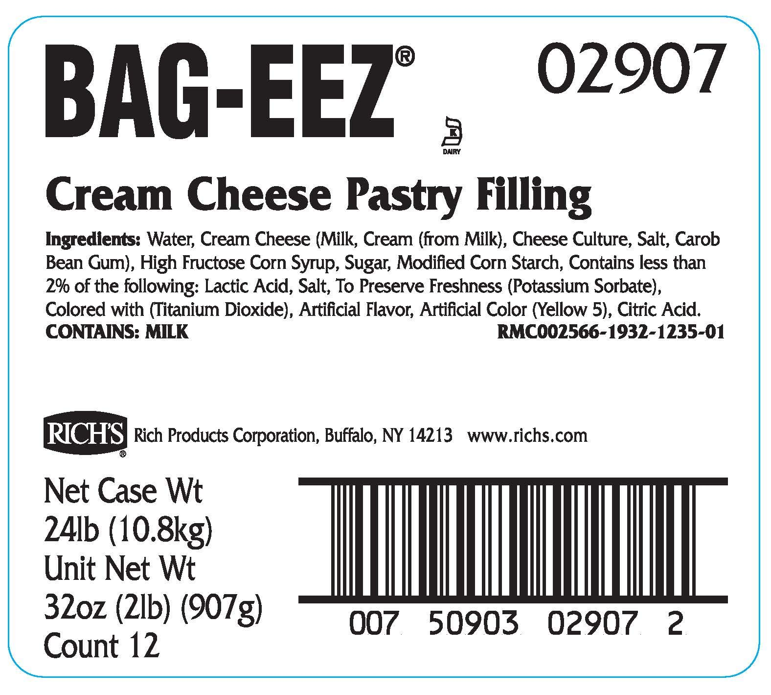 Rich's JW Allen Cream Cheese Pastry Filling Bag-Eez, 12 Pack, 2 lb Bags by Rich's (Image #2)