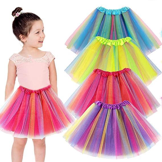 vamei 4piezas Falda Tutu para Niñas Dancewear Arco Iris Falda de ...