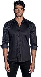 2289f077d6b860 Jared Lang Black Solid Satin Shirt with Polka Dot Trim AH-T-2072