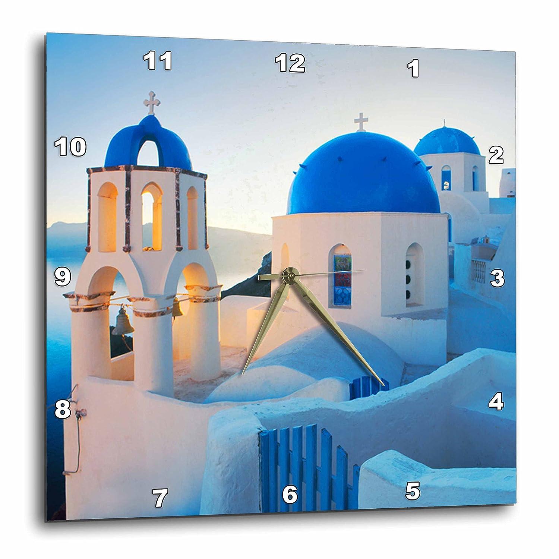 Travel dpp/_149764/_2 Greek Church Domes 3dRose EvaDane 13x13 Wall Clock