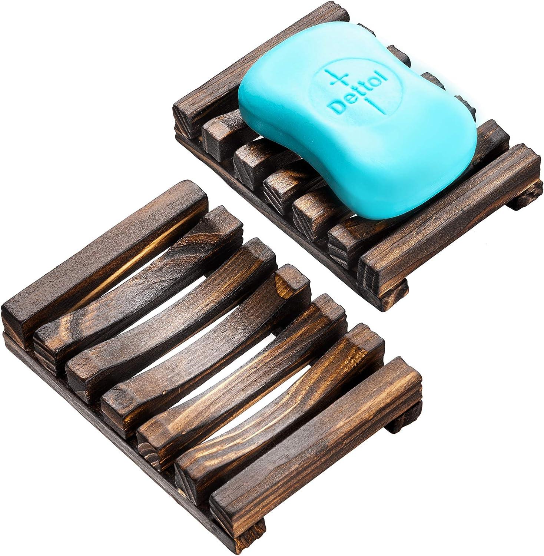 Bamb/ú Exfoliaci/ón Madera en color negro con bandeja de goteo y tapa de fibra de bamb/ú EDARTO Jabonera de madera natural bolsa para jab/ón // bolsa de jab/ón // 100/% sisal natural para el cuerpo