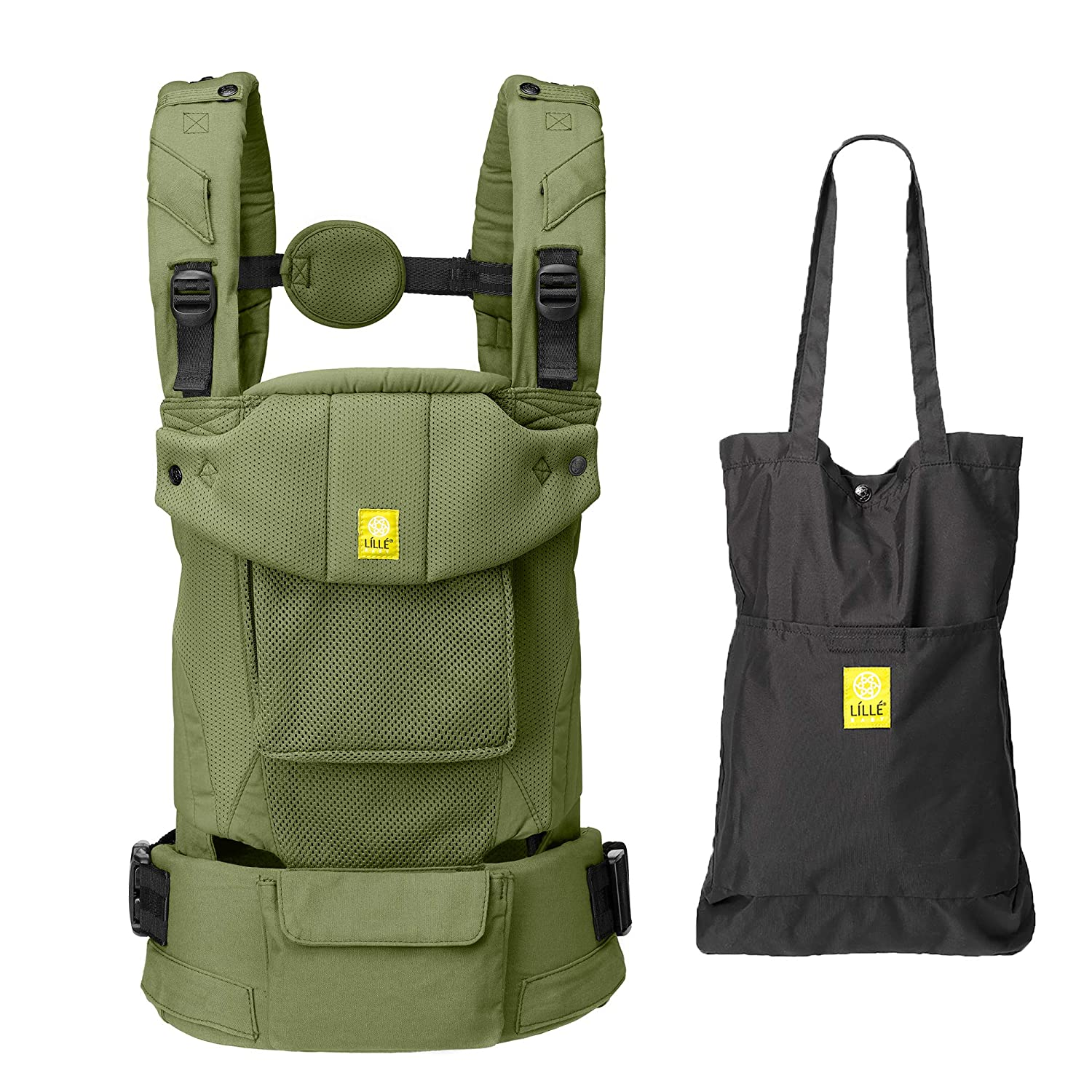 LÍLLÉbaby Serenity Airflow SIX-Position Ergonomic Baby & Child Carrier with Convertible Tote, Artichoke - Breathable Mesh