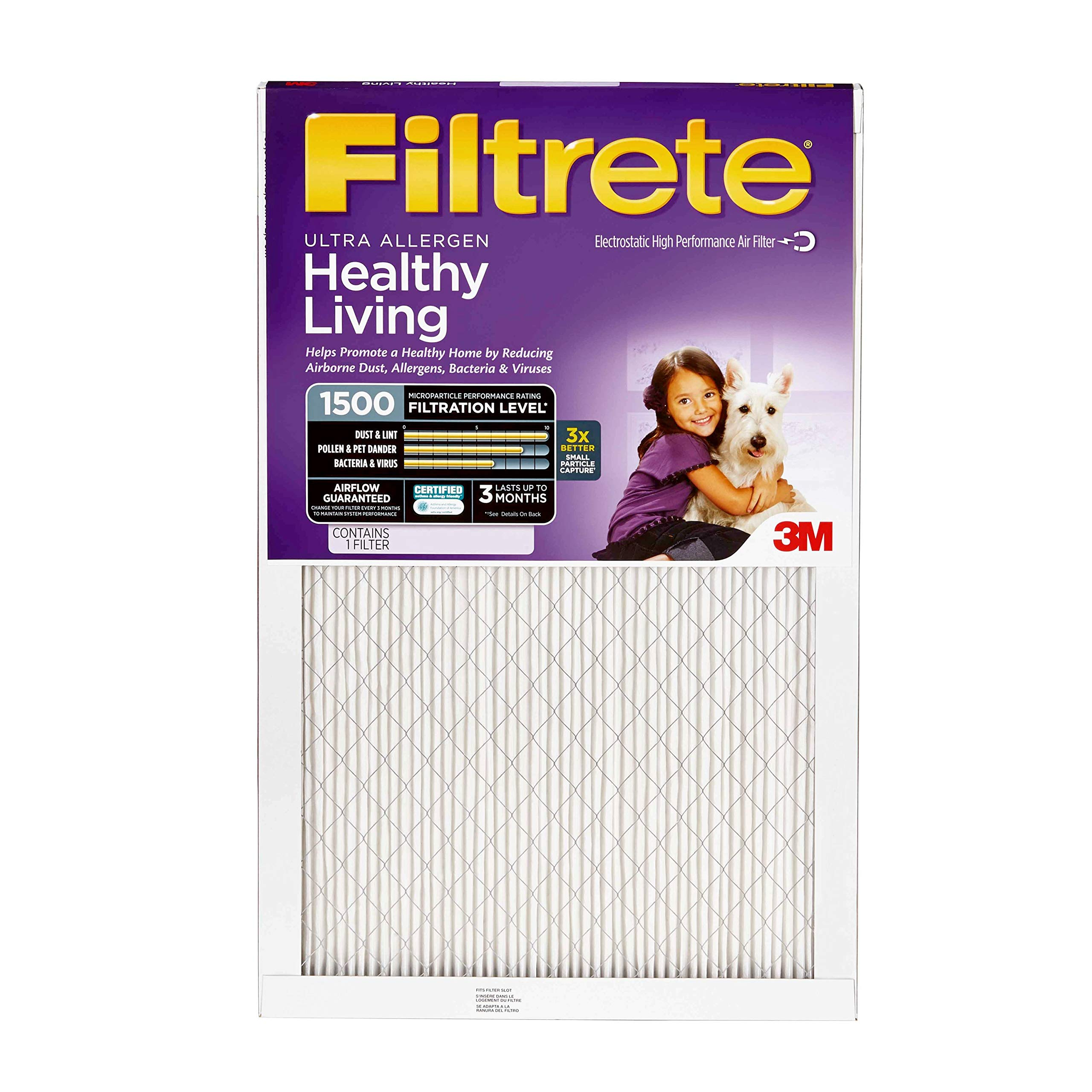 Filtrete 16x20x1, AC Furnace Air Filter, MPR 1500, Healthy Living Ultra Allergen, 4-Pack by Filtrete