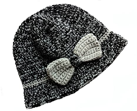 Amazon Pom Kids Crochet Flapper Hat Tweed With Grey Bow